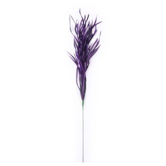 "Goose Biots Floral Stem 31"" Total-Deep Plum, 18"" Wire, 13"" Feathers"