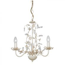 Cream & Brushed Gold Effect Pendant Light with Pearl Effect Shades - 3 light 60w by Happy Homewares