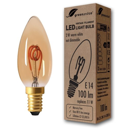 greenandco® E14 LED Vintage Filament Bulb 2W (replaces 11W) 100lm 2000K (extra warm white) 360° 230V glass bulb, not dimmable