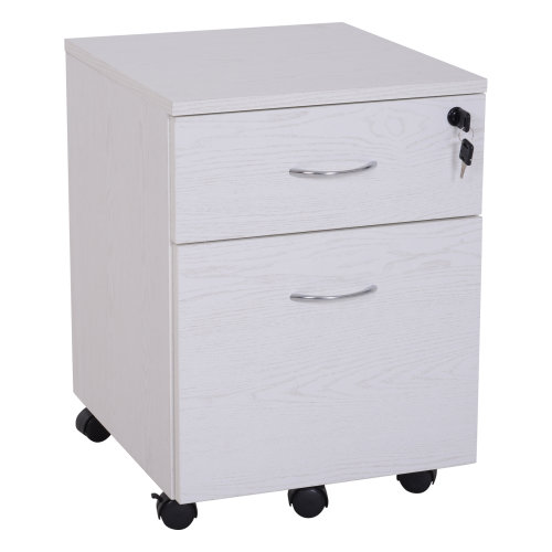 Vinsetto Two Drawer A4 Filing Cabinet Lockable Storage Unit Cupboard Home Office Organiser Rolling Casters     White