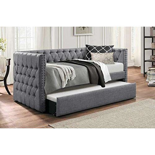Roma Buttoned Chesterfield Day Bed with Trundle Bed