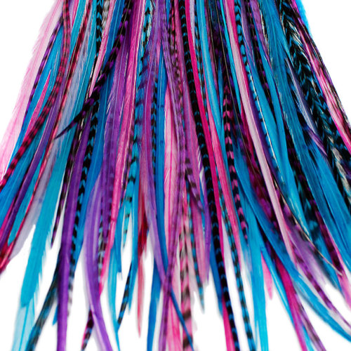 20 LONG BERRY FEATHER HAIR EXTENSIONS KIT: RINGS INCLUDED (B GRADE)