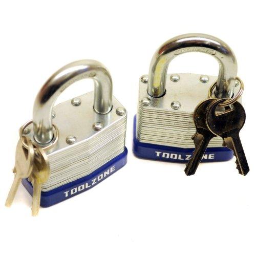 2pc 50mm Keyed Alike Padlock Laminated Steel Padlocks Shed Gate Lock TE152