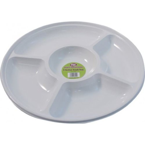 Plastic 5 Section Round Snack Serving Tray Disposable Party