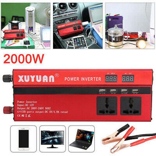 Car 2000W/4000W Power Inverter DC 12V to AC 220V Converter Invertor Electronic