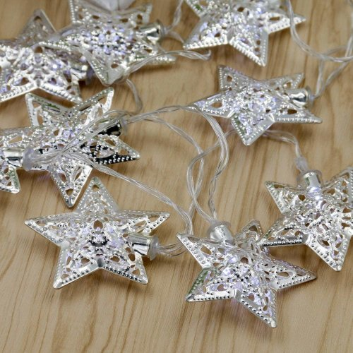 Set of 10 Christmas Silver Star LED Lights TRIXES