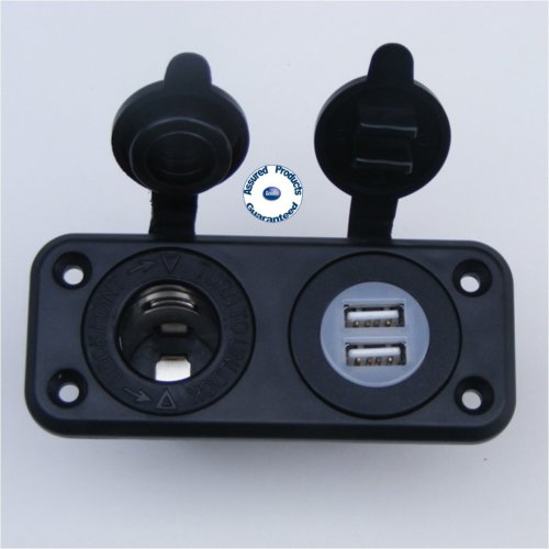 Waterproof 12V Lighter Power Socket and Double USB Port Socket
