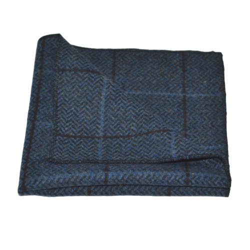 Luxury Aegean Blue Herringbone Check Pocket Square, Handkerchief, Tweed