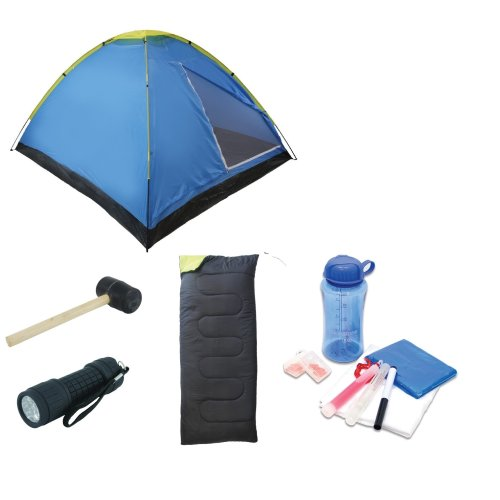 Basic Festival Pack (tent + sleeping bag+ mallet + torch + accessory set)