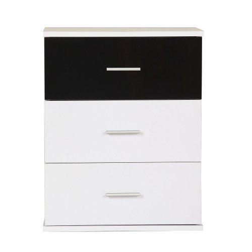 Homcom Bedside Table 3 Drawers Cabinet Bedroom Furniture-black and White