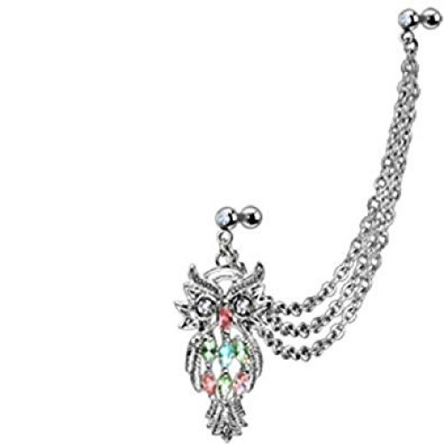 Multiple Colour Marquise Cut Crystal Owl Triple Chain Link Ear Cuff Lobe, Tragus or Cartilage