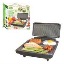 Nutri-Q Non Stick Thermostatically Controlled Compartmentalized Fold Out Electric Multi Grill and Griddle, 1000 W, Black