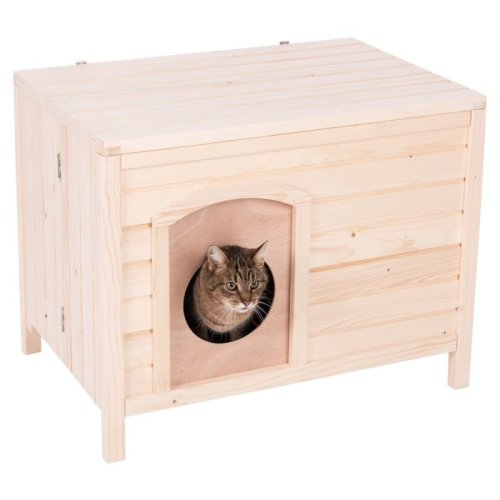 Collapsible Cat House Wood Pet Door Doubles As Furniture Indoors Outdoors