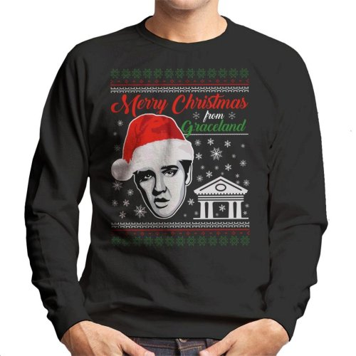 Elvis Presley Merry Christmas From Graceland Men's Sweatshirt