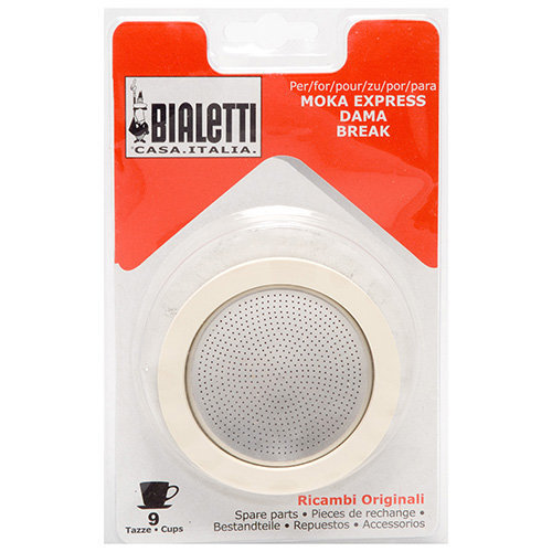 Bialetti Blister 3 Gaskets + 1 Filter Plate For 9 Cups Stainless Steel Moka Pots