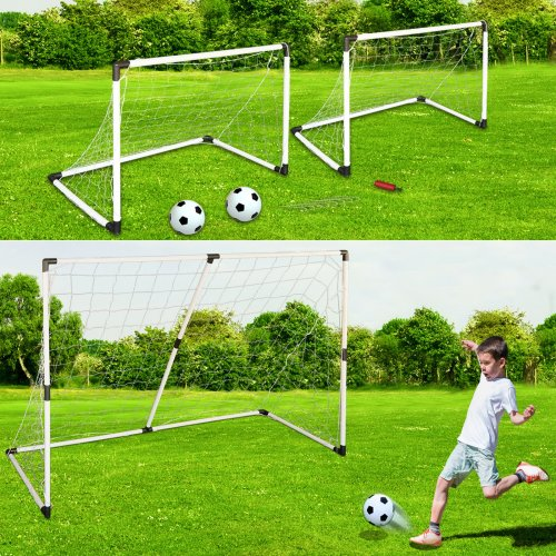 Rexco Large 6ft Football Net 2 in 1 Soccer Goal Posts Ball Pump Set