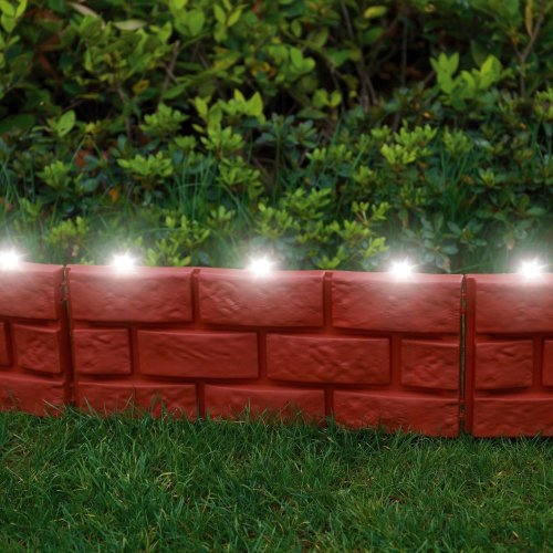 4 X Brick Effect Garden Edging with LED Light - Terracotta