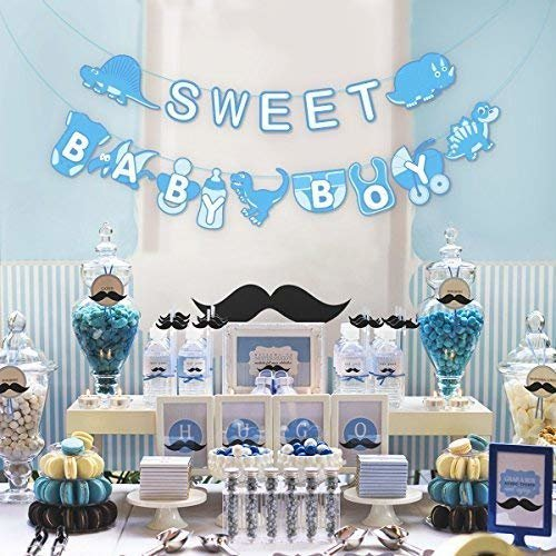 c3e8518377c4 Unomor Baby Boy Banner for Baby Boy Shower Decorations with Dinosaur  Design---Blue on OnBuy