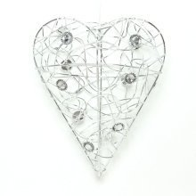 Small Wire Heart with Crystals