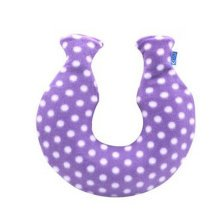 Simple Small U-Type 1.6 L Hot Water Bottle with Fabric Cover, Purple (Small Circle)