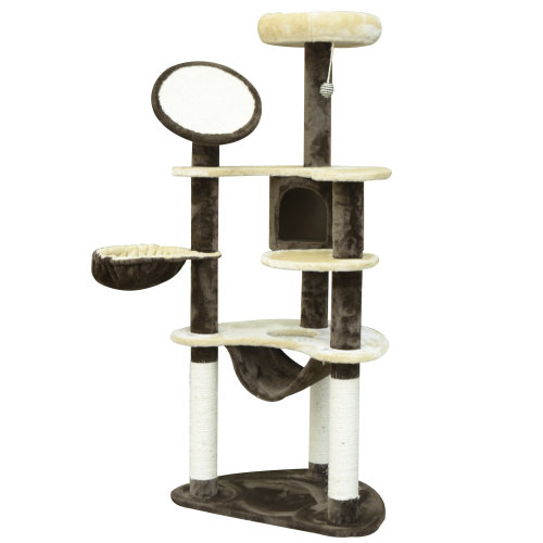 PawHut Cat Tree Scratching Tower House Activity Center Post Climbing Hammock Condo Perch 153 cm