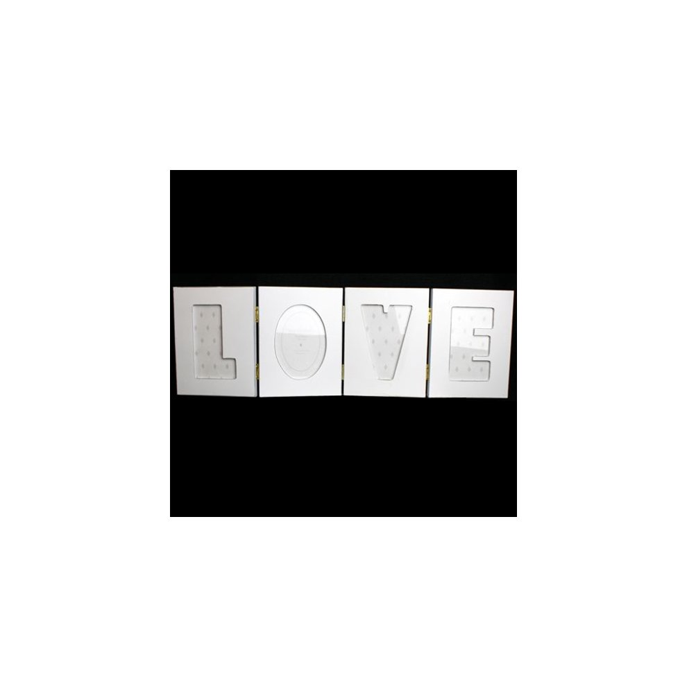 LOVE - Folding Free Standing 4 Picture Collage Photo Frame - White ...