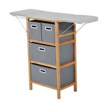 Homcom Folding Ironing Board Station and Shelving Unit w/ Storage Boxs