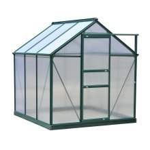 Outsunny Clear Polycarbonate Greenhouse Large W/ Slide Door (6ft X 6ft)