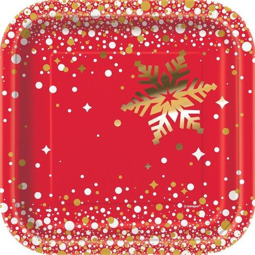 Christmas Paper Plates.Unique Party 58014 Dessert Square Foil Gold Sparkle Christmas Paper Plates Red 18 Cm