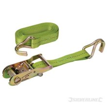 Silverline Ratchet Tie Down Strap J-hook 4m x 27mm Rated 400kg Capacity 1200kg -  silverline cargo lash 4m x ratchet 15 350060 tie strap 30mm down
