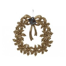 Plastic Gold Glitter Finish 19cm Wreath Decoration - Festive Design Hanging -  19cm gold festive glitter design hanging christmas wreath plaque