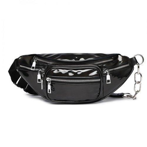 Patent Leather Zip Front Bum Bag Waist Pack Hip Black Handbag Festival Holiday