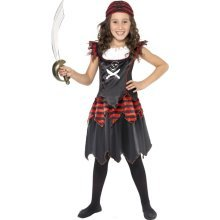 Medium Children's Pirate Girl Costume -  pirate costume dress fancy girl girls skull childrens kids smiffys outfit crossbones gothic
