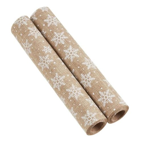Saro Lifestyle GL211.N Christmas Fabric with Snowflake Print - Natural, Set of 2