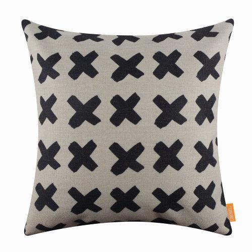 "18""x18"" Black Cross Simple Design Burlap Pillow Cover Cushion Cover"