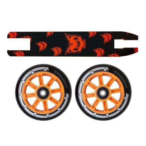 Black Orange Nylon Scooter Wheels 100mm Pair+Orange Black Grip Tape