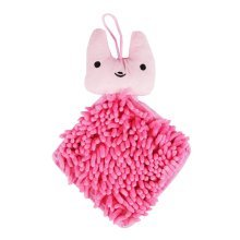 Set of 2 Chenille Fiber Hand Towel Clean Absorbent Hang Rope Towel, Pink Doll