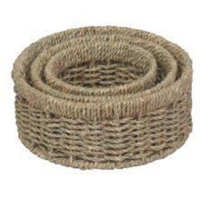 Set of 3 Round Seagrass Small Tray
