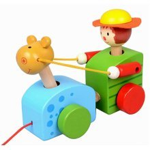 Lovely Wooden Push & Pull Toy Pull-Along Wagon Vehicle Boy