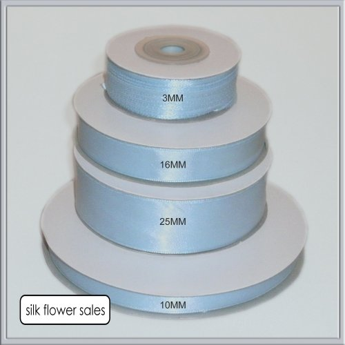 single roll of Baby Blue Double faced Satin Ribbon 3mm, 10mm, 16mm, 25mm widths (3mm x 50M)