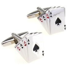 Mens Pair of Novelty Playing Cards Cufflinks Poker Ace Gamble