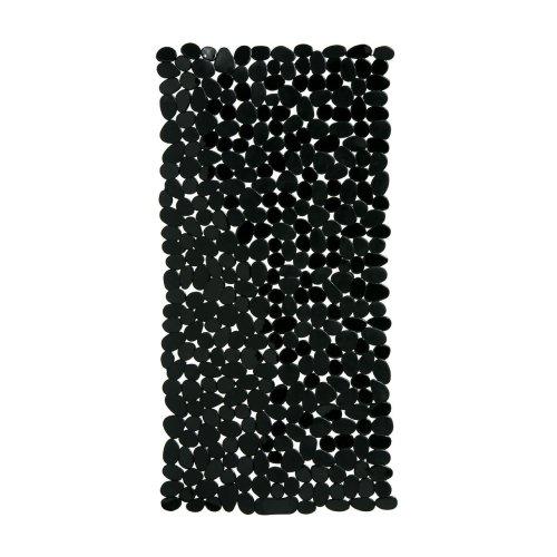 Pebble Design Rectangular PVC Bath Mat, Black