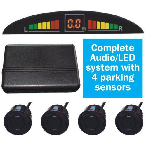 Rear Parking Sensors Car Reverse Parking Kit LED Buzzer Alarm +Switch 4 Sensors