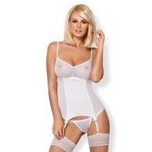 Obsessive 843 Corset With Garter Straps and Thong
