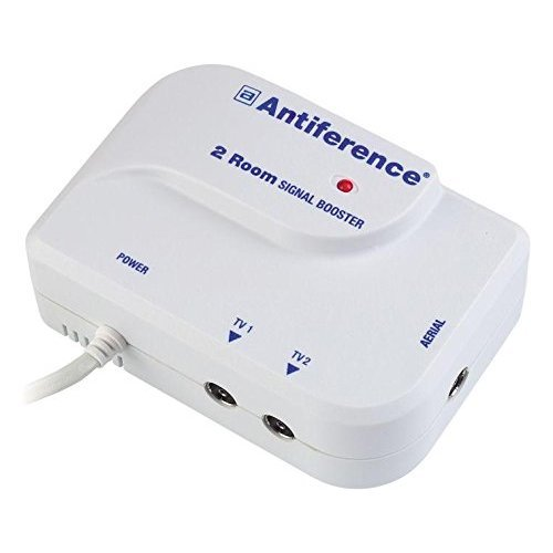 Antiference 2 Way TV Signal Amplifier Booster Tuned to Cut Out 4G - White