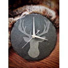 Stag Head Design Round Slate Clock - 22cm - Wall Mounting