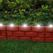 8 X Brick Effect Garden Edging with LED Light - Terracotta