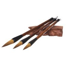 3 PCS Chinese Calligraphy Drawing Brush Set - Pure Wolf Hair,A1