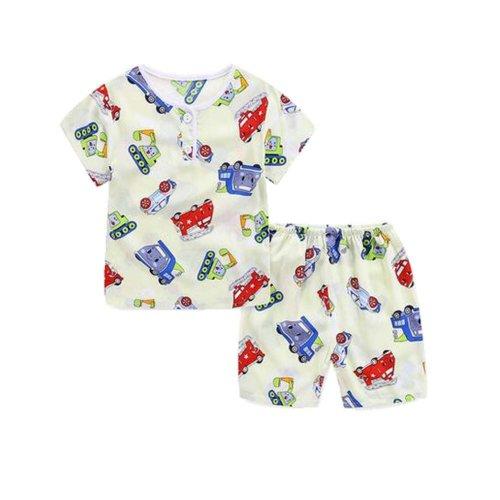Boys Pajamas Truck Cotton Kids Clothes Short Sets Children Cartoon