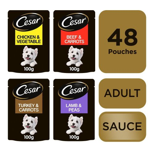 CESAR Deliciously Fresh Dog Pouches Favourites in Sauce 24x100g (Pack of 2)